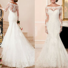 Mermaid White/ivory Long sleeves Embroidery wedding dress Bridal Gown custom