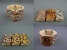 "1.5"" wide animal print wood bead stretch tile bracelet cheetah leopard zebra"