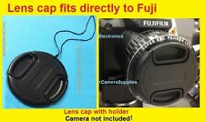SNAP-ON FRONT LENS CAP DIRECTLY to CAMERA FUJI S9900W S9900 W FINEPIX+HOLDER