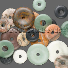 Lot of 10 Big Assorted Natural Gemstone Flat Round Donut Focal Bead Drop Charms