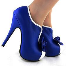 New Royal Blue Bow Hidden Platform Contrast Ankle Boots UK Size 5