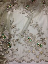 """SAGE MESH W/GOLD FLORAL  EMBROIDERY MULTI RHINESTONE LACE FABRIC 50"""" WIDE 3.5 YD"""