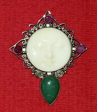 SAJEN MOON GODDESS RUBY AVENTURINE STERLING PENDANT PIN BROOCH 925 DESIGNER SIGN