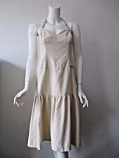ANTHROPOLOGIE Free people Ivory Beige Linen Blend Halter Dress 2