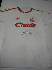 IAN RUSH HAND SIGNED RETRO WHITE LIVERPOOL JERSEY UNFRAMED + PHOTO PROOF + C.O.A