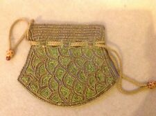 Evening draw-string bag with beads and sequences. Exotic gift idea.