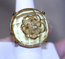 Cocktail Ring round faceted yellow lucite flower gold tone stretch band size 8