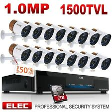 ELEC 16CH 1500TVL 960H CCTV DVR IR-CUT Night Vision Security Camera System 2TB