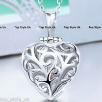 925 Sterling Silver Love Heart Locket Pendant Chain Necklace Gift for Girlfriend