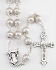 NEW MADE IN ITALY LARGE SILVER CAPPED FAUX PEARL BEAD ROSARY - BEAUTIFUL!