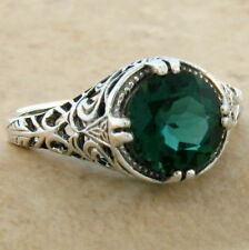 2 CT SIM EMERALD ANTIQUE FILIGREE DESIGN 925 STERLING SILVER RING SZ 7,#624
