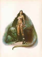 "1978 Full Color Plate ""The Amazon's Pet"" by Boris Vallejo Fantastic GGA"