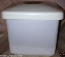 """FIGGJO NORWAY 1622 SQUARE CANISTER WITH LID 3 3/8"""" GREEN CIRCLE ON TOP"""