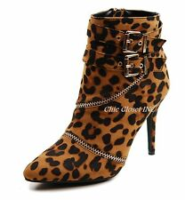 Women Ankle Booties Sexy High Stiletto Heels Leopard Black Tall Mid Boots NEW