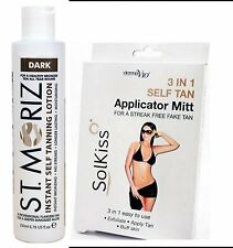 ST MORITZ Instant Bronzing Self Tanning LOTION DARK & 3 in 1 Applicator MITT Mit