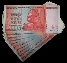 10  x Zimbabwe 20 Trillion Dollar banknotes-Lightly Circulated money currency