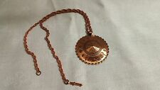 "Vintage Bell Copper Embossed Indian Symbol Disk Pendant 23"" Rope Chain Necklace"