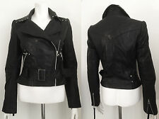 Topshop Black Flat Studded Real Leather Biker Jacket UK 10