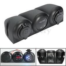 Car 12V 24V Digital LED Voltmeter + Cigar Lighter + Double USB Outlet Charger