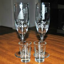 Bride & Groom Wedding Champagne Toasting Glasses & Shot Glass Set NEW 03