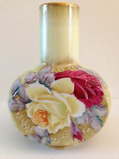 Antique Nippon Vase Hand Painted Roses Pink Yellow