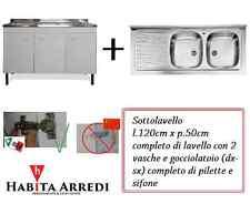 Mobile con Lavello per Cucina Bianco Tre Ante + Gocciolatoio DXoSX Acciaio 120