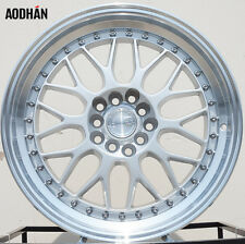"17"" AH02 17x8.0 5x100/114.3 +35 Silver Machined Lip Wheels For Toyota Matrix (4)"