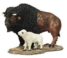 "9.5"" Buffalo & Baby Wildlife Animal Collectible Statue Figurine Figure Sculpture"