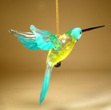 Blown Glass Figurine Bird Hanging Blue with Yellow Belly HUMMINGBIRD Ornament