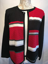 Ladies Alfred Dunner Twin Set Top, Cardigan Plus Size XL Petite Size 16