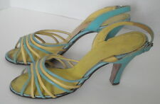 Vintage 50s Yellow & Blue Leather Strappy High Heel Shoes 6 1/2 M Michelle