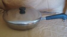 "Vintage REVERE WARE 10"" Skillet Frying Pan NON-COPPER Bottom 1801 with Lid"