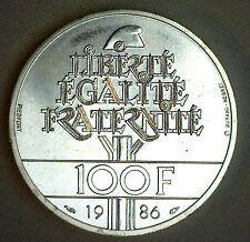 1986 France 100 Francs Silver World Coin Statue of Liberty KM# 960 #P