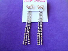 Betsey Johnson Authentic NWT Gold-Tone Pave Bow&Linear Chain Front/Back Earrings