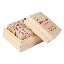 25pcs Love Diary Rubber Wooden Stamp Set DIY with Wooden Box DIY Gift For Child