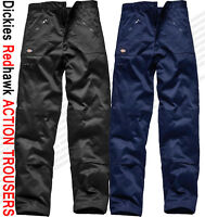NEW MENS TROUSERS DICKIES WD814 REDHAWK ACTION WORK TROUSERS BLACK NAVY SIZES -