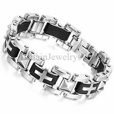 16MM Men's Stainless Steel Black Silicone Cross Link Biker Cuff Bracelet, 8.5""