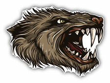 "Wolf Head Mascot Car Bumper Sticker Decal 5"" x 4"""