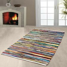 Indian Chindi Rugs Hand Woven Handmade Mat Recycled Cotton Small Striped 60x90cm