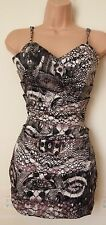 LIPSY GRECIAN SATIN SNAKE SKIN STRAPPY PARTY TUBE BODYCON RUFFLE VTG  DRESS 8 S