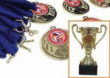 Trophy Cup + 15 medals. Football,Birthday, Prize award. Choose ribbon & centres