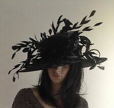 NIGEL RAYMENT BLACK OCCASION WEDDING HAT MOTHER OF THE BRIDE FEATHERS