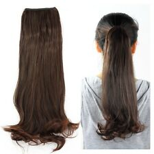 """17"""" Clip in Ponytail Wig Hair Dark Brown Curly Deluxe Piece Wrap Round Cosplay"""