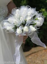 MODERN ARTIFICIAL SILK FOAM FLOWER WHITE ROSE SHIMMER BRIDAL BOUQUET WITH HOOPS