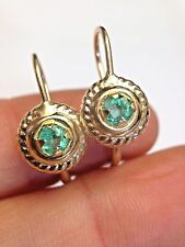 .60 CTW Round Colombian Emerald 14K Yellow Gold Leverback Earrings
