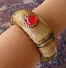 Vintage Bracelet Wide Exotic Carved Yak Bone &  Brass Hinged Bangle
