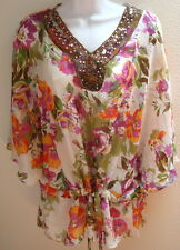 top blouse xl extra large floral print sheer casual womens green purple sequin