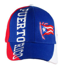 Puerto Rico Baseball Hat Cap 3D  Embroidered Flag Blue Front Red  White Sides