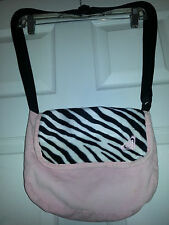 ROXY Pink Corduroy MESSENGER Crossbody SHOULDER PURSE School Bag ZEBRA PRINT