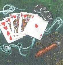 1 Serviette en papier Cocktail Jeu Casino Suite Royale Paper Napkin ROYAL FLUSH